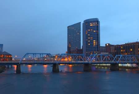 the rapids: Grand Rapids cityscape by twilight night in Michigan