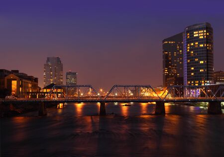 Grand Rapids city at night in Michigan USA