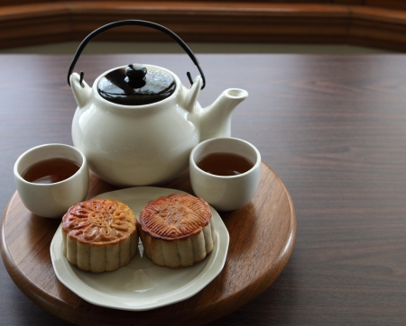Traditional homemade mooncake with tea photo