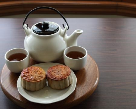 Traditional homemade mooncake with tea