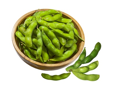 nibbles: Soybean Soy beans edamame nibbles in wooden bowl