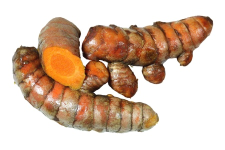 Fresh Turmeric curcuma longa root spice isolated on white Stock Photo
