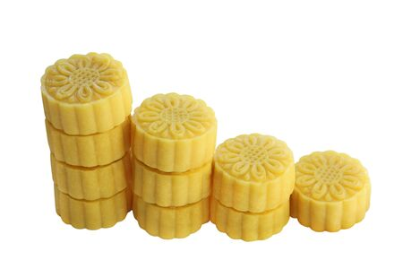 reduces: Mung bean cakes in graph bar char, concepts reduces sweet food Stock Photo