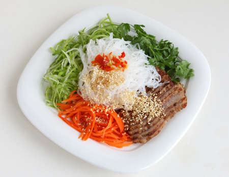Roasted pork with noodle and vegetable