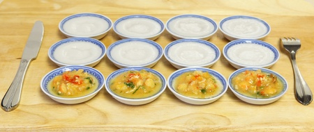 rice cake: Rice cake with shrimp and meat sauce, Vietnameses cuisine Stock Photo