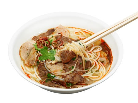 vietnamse: Bowl of beef with  rice vermicelli  noodle soup, bun bo hue, Vietnamese Stock Photo