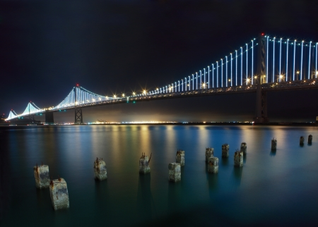 San Francisco-Oakland Bay Bridge at night from the Embarcadero