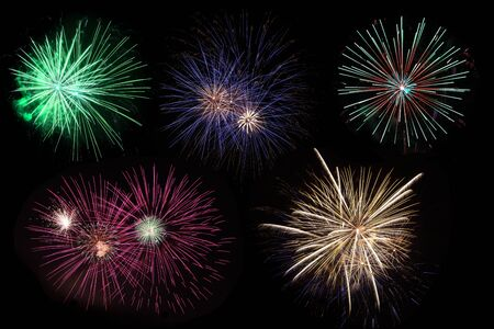 Colorful of fireworks displaying on black sky photo
