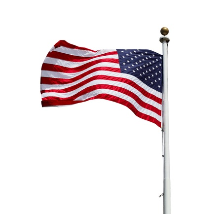 Waving American US flag isolated on white background photo