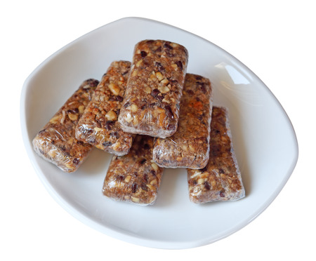 granola bar: Homemade granola bars isolated on white Stock Photo