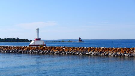 mackinac: Old Round Island Point Lighthouse and Passage Light in Straits of Mackinac Michigan