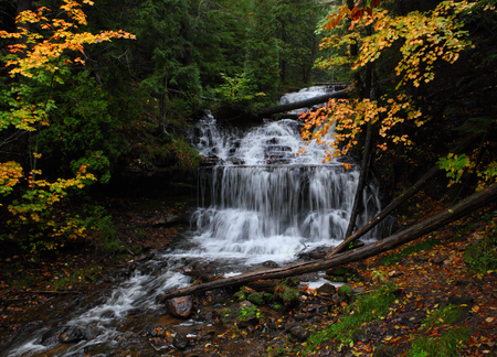 wagner: Wagner Falls in Autumn,  Michigan State Park,  Alger County, Upper Michigan
