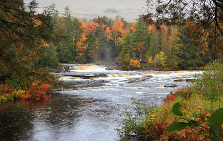 Tahquamenon Falls State Park island upper Peninsula Michigan in the Autumn Stock Photo