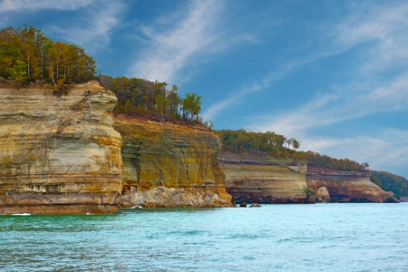 pictured: Pictured Rocks Cliffs National Lakeshore near Munising Michigan, Upper Peninsula Stock Photo