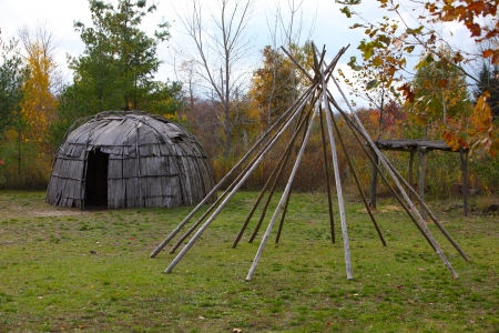 tribal park: Wigwam bent house made from White Cedar bark in Michigan