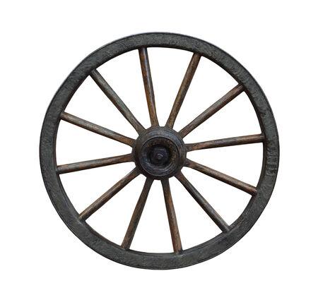 白で隔離されるグランジ荷馬車の車輪