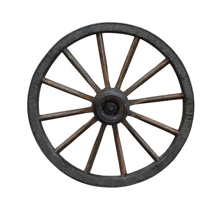 Grunge wagon wheel isolated on white