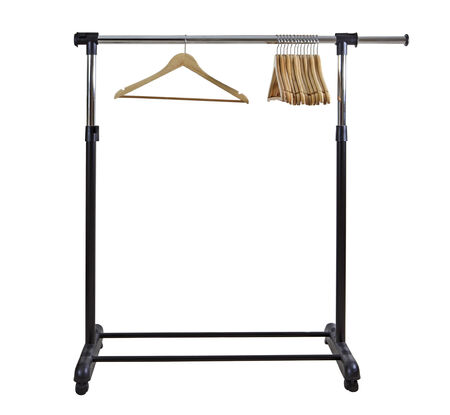 Basic moble and adjustable garment clothing rack with hangers photo