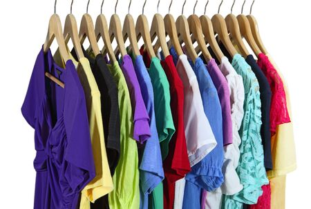 the sleeve: Short Sleeve female clothes on hanger isolated over white Stock Photo