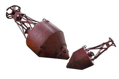 mooring: Old rusty mooring buoys isolated on white background