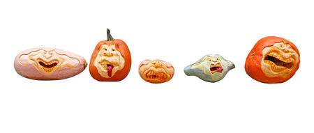 Row of pumpkin halloween heads isolated on white background photo