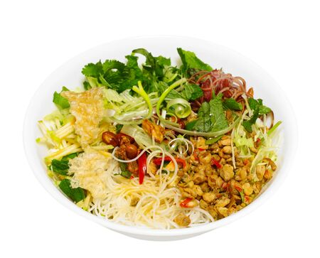 baby rice: Rice Vermicelli noodle with baby clam mussel, Hue Vietnam traditional dish
