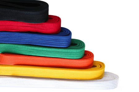judo: Seven  colors of martial arts Taekwondo belts in order from low to high