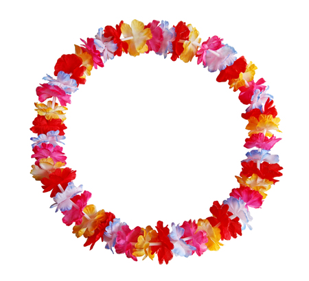 hawaiian lei: Round circle colorful Hawaiian lei with bright colorful flowers Stock Photo