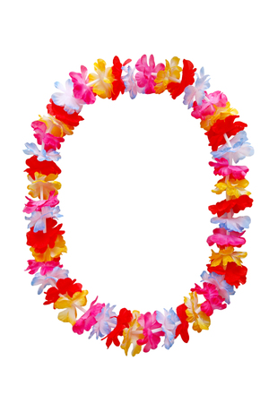 lei: Hawaiian oval lei necklace isolated on white background Stock Photo