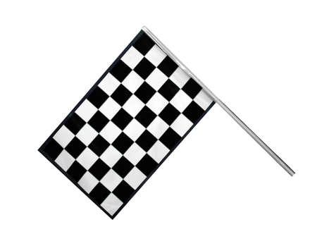 checker flag: Checkered race finish flag isolated on white background