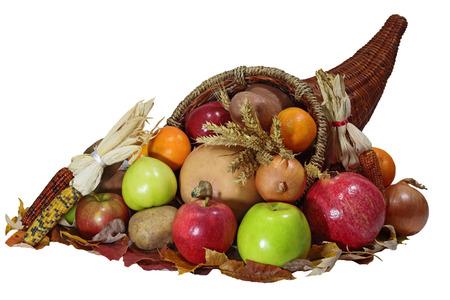 Thanksgiving cornucopia horn of plenty  with vegetable, fruits harvest  over white background