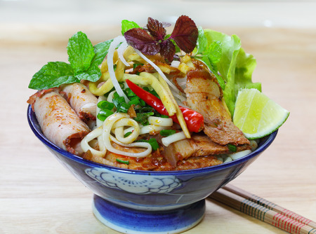 Homemade Cao Lau Vietnamese cuisine noodle bowl