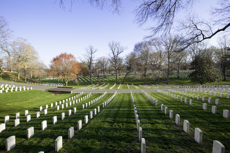 White tombstones in Arlington National Cemetery, Washington DC, United States of America
