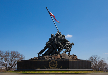 ARLINGTON, VIRGINIA - April 10, 2018:  The United States Marine Corps War Memorial (Iwo Jima Memorial ).  The statue honors all Marines who lost their lives in the defense of the USA since 1775
