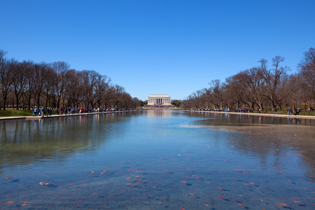 Washington DC, United States - June 24, 2018: Abraham Lincoln Memorial and the reflecting pond on the National Mall In Washington District of Columbia, USA