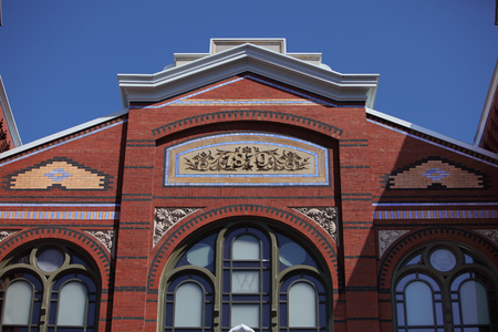Brickwork details on the Arts and Industries Building of the Smithsonian Museum of the National Mall in Washington DC USA 新聞圖片