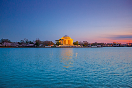 Jefferson Memorial at the sunset with reflection in the Tidal Basin
