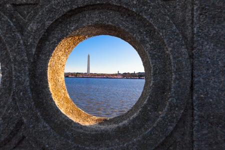 Tidal Basin with the Washington Monument as viewed through the Hole of the Inlet  Bridge on Ohio Drive, Washington DC