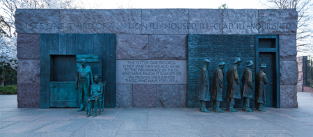 WASHINGTON, DC - April 08, 2018: The Breadline and The Rural Couple Sculptures by George Segal created, Franklin Delano Roosevelt Memorial
