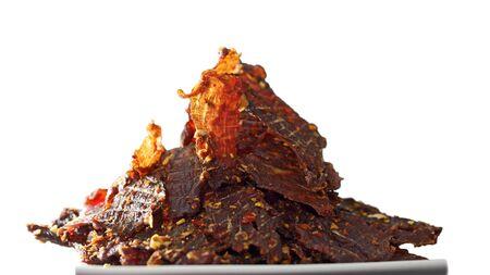 Homemade Vietnamese Beef Jerky isolated on white background 版權商用圖片