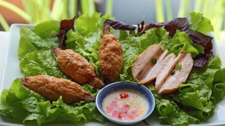 Shrimp Paste on Sugarcan Delicious Vietnamese Dish 版權商用圖片