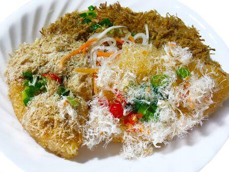Homemade crispy rice with shrimp, pork, chicken floss