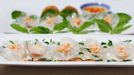 Crystal white Rose Flower Dumplings with Prawn Paste and Garlic Chives 版權商用圖片