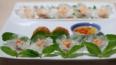 Crystal White Rose Flower Dumplings with Shrimp Paste