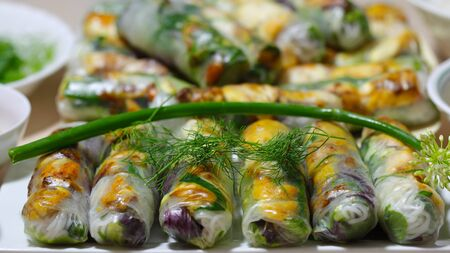 Spring Rolls of turmeric fish, rice vermicelli and vegetable