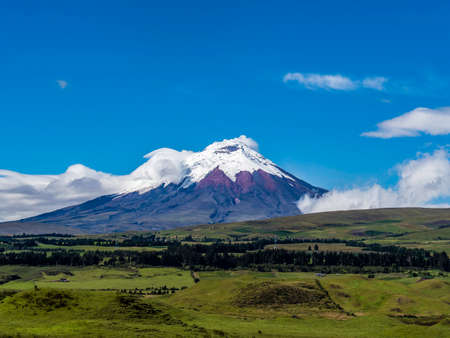 Beautiful scenic view of Cotopaxi Volcano on a fine day, Ecuador