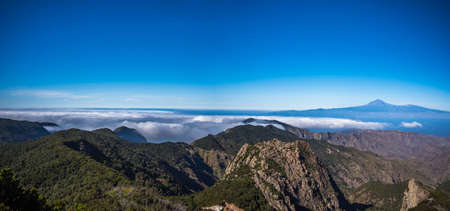 Beautiful panoramic scenery of the mountains in Garajonay National Park in La Gomera Canary Islands Spain