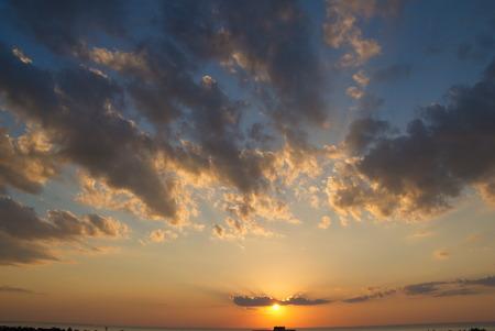 Sunset over sea in Baltic sea, Latvia photo