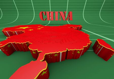 3D map of China in Chinese flag colors. photo