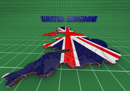 3D Illustration of United Kingdom map with as Flag illustration